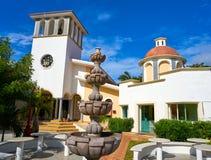 里维埃拉玛雅人的Puerto莫雷洛斯州教会 免版税库存照片