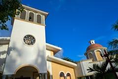 里维埃拉玛雅人的Puerto莫雷洛斯州教会 库存图片