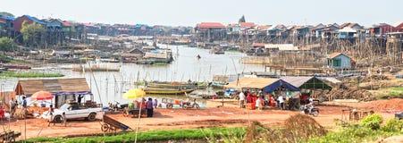 洞里萨湖,柬埔寨全景  免版税库存照片