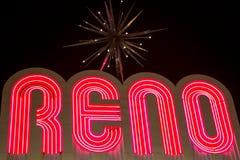 里诺做了夜光氖信件在晚上 图库摄影