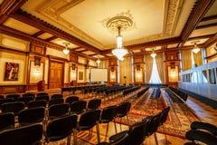 里面会议室在齐奥塞斯库宫殿 库存照片