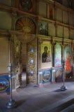 里面历史的俄国木教会 免版税图库摄影