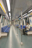 里面地铁或地下现代火车 免版税库存照片