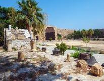 里面威尼斯式凯里尼亚城堡(第16个c ),北部塞浦路斯 免版税库存图片