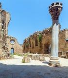 里面威尼斯式凯里尼亚城堡(第16个c ),北部塞浦路斯 图库摄影