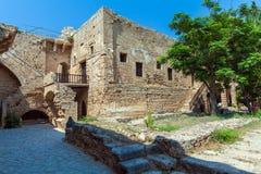 里面威尼斯式凯里尼亚城堡(第16个c ),北部塞浦路斯 免版税图库摄影