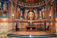 里面教会 圣徒安娜Rohia修道院,位于在一个自然和被隔绝的地方,在Maramures,特兰西瓦尼亚 免版税库存图片