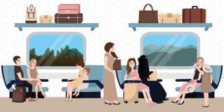 里面火车业务分类情况人民坐的旅行 免版税库存照片
