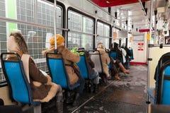 里面电车。 免版税库存图片