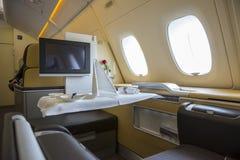 里面空中客车A380飞机 免版税库存照片