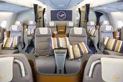 里面空中客车A380飞机 免版税库存图片