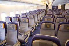 里面空中客车A380飞机 库存照片