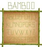 里面绿色竹字母表在老纸背景的木棍子框架 向量例证