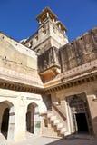 里面美丽的琥珀色的堡垒在Jaiput 免版税库存照片
