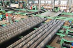 里面钢铁生产厂 免版税库存照片