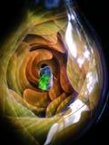 里面银和金杂质吹制玻璃天体 库存图片