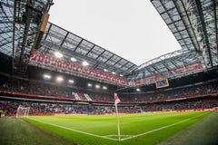 里面阿姆斯特丹竞技场橄榄球球场全景概要 免版税库存图片