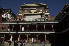 里面tashilhunpo修道院,日喀则,西藏 库存照片