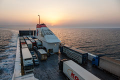 从巴里,意大利的轮渡向科孚岛,希腊 图库摄影