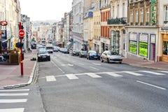 重创的云香街道在滨海布洛涅,法国 免版税库存图片