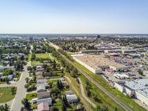重创的大草原,亚伯大,加拿大住宅区  免版税库存图片