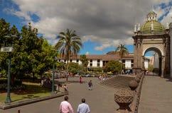 重创的广场-基多,厄瓜多尔 库存图片