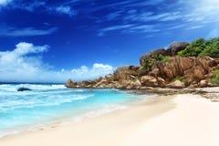 重创的anse海滩, La Digue海岛 库存图片