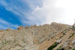 重创的Corno, Gran Sasso,高足迹,拉奎拉,意大利 免版税库存图片