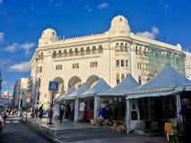 重创的Poste阿尔及尔是在阿尔及尔修建的新摩尔人样式Arabisance大厦由亨利路易斯在1910年的La说朱尔斯瓦诺a 免版税库存图片