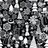 重复与雪人,雪花,雪,chsistmas树,美洲黑杜鹃的黑白Christmass样式 皇族释放例证