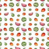 重复与水彩柑橘、西瓜和猕猴桃的样式 免版税图库摄影
