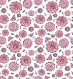 重复与水彩桃红色东方人装饰品的样式 免版税图库摄影