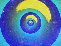 重复在蓝色颜色的圈子的抽象计算机生成的图象和黄色 库存图片