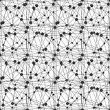 重复有稀薄的lenes和小点的几何瓦片 黑色和wh 免版税库存图片