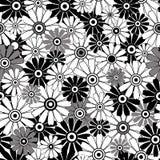重复白色的黑色花卉模式 免版税库存照片