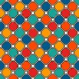 重复的八角形物彩色玻璃马赛克背景 生动的陶瓷砖 与几何装饰品的无缝的样式 皇族释放例证
