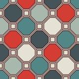 重复的八角形物彩色玻璃马赛克背景 减速火箭的陶瓷砖 与几何装饰品的无缝的样式 皇族释放例证