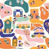 重复的样式设计,与五颜六色的房子和树 向量例证