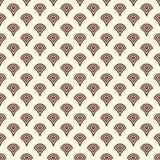 重复的被环绕的扇贝形象 无缝几何的模式 抽象水下落形状 鱼鳞墙纸 向量例证