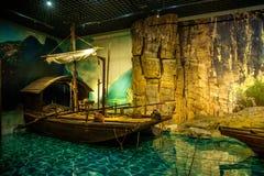 重庆三峡博物馆历史展示三峡博物馆`壮观的三峡` 免版税库存照片