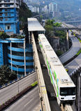 重庆单轨铁路车系统 库存照片