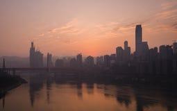 重庆市地平线在黎明 库存图片