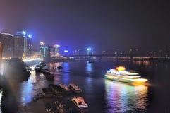 重庆晚上端口场面 免版税库存图片
