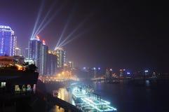 重庆晚上端口场面 库存图片