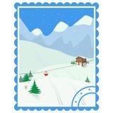 重新创建 滑雪假日 与山房子,树,电车,滑雪的冬天风景 向量例证