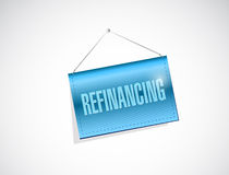 重新贷款的垂悬的横幅标志 免版税库存照片