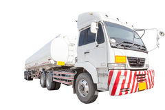 重油容器卡车被隔绝的白色背景 库存照片