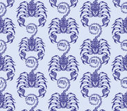 重漆无缝的样式:排列蝎子 免版税库存照片