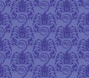 重漆无缝的样式:蓝色蝎子 免版税库存图片