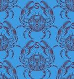 重漆无缝的样式:螃蟹 免版税图库摄影